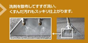 洗剤を散布してすすぎ洗い。